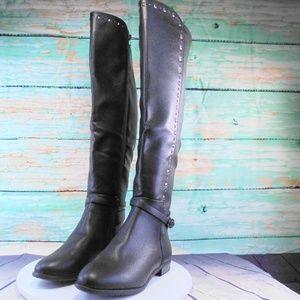 Rialto Ferrell Black Smooth Riding Boots Size 8.5